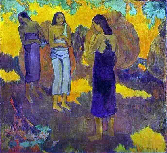 Paul Gauguin Three Tahitian Women Against a Yellow Background - Canvas Art Print