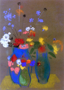 Odilon Redon Three Vases of Flowers - Canvas Art Print