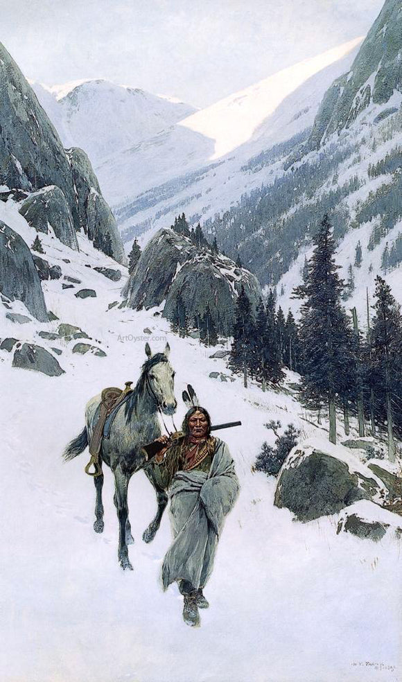 Henry F Farney Through the Pass, Winter - Canvas Art Print