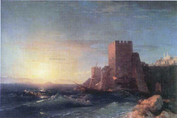 Ivan Constantinovich Aivazovsky Towers on the Rock Near Bosporus - Canvas Art Print