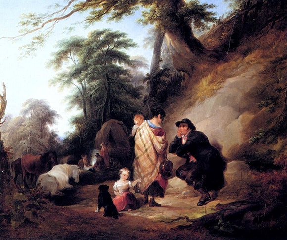 Senior William Shayer Travelers Resting - Canvas Art Print