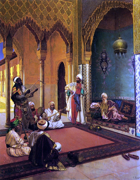 Rudolph Ernst Traveling Musicians Playing for the Sultan - Canvas Art Print
