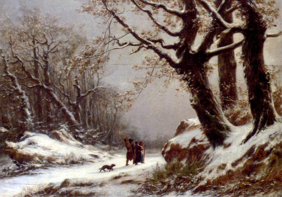 Charles Joseph Lecointe Travellers In Winter Woodland - Canvas Art Print