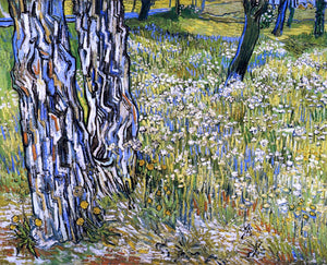 Vincent Van Gogh Tree Trunks in the Grass - Canvas Art Print