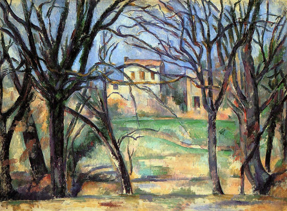 Paul Cezanne Trees and Houses - Canvas Art Print