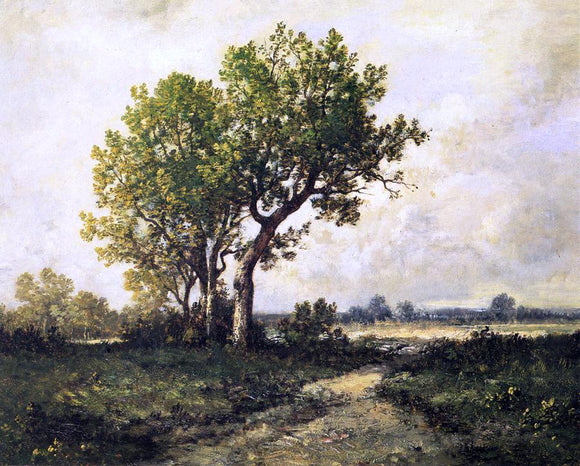 Leon Richet Trees in a Landscape - Canvas Art Print