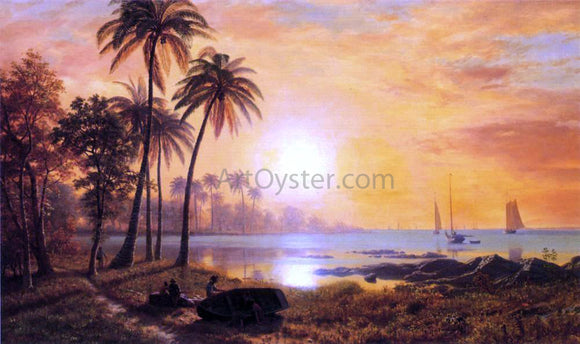 Albert Bierstadt Tropical Landscape with Fishing Boats in Bay - Canvas Art Print