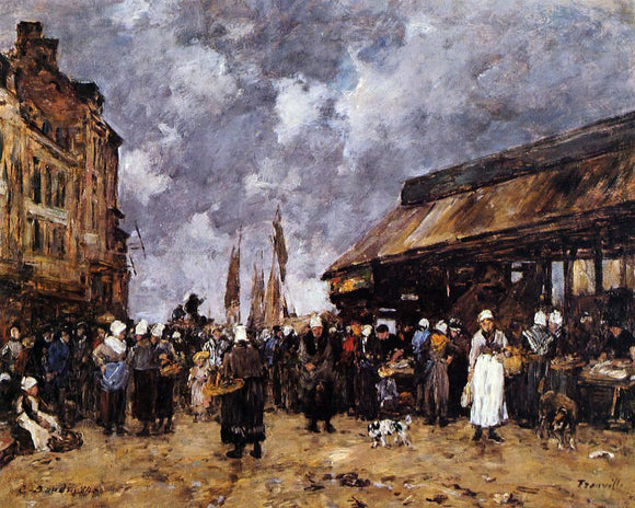 Eugene-Louis Boudin Trouville, the Fish Market - Canvas Art Print