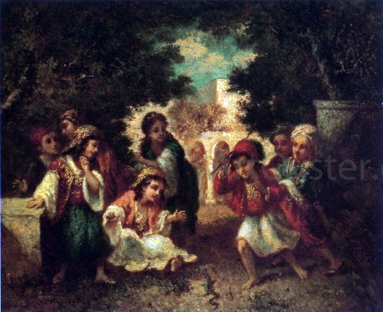 Narcisse Virgilio Diaz De la Pena  Turkish Children Playing with a Lizard - Canvas Art Print