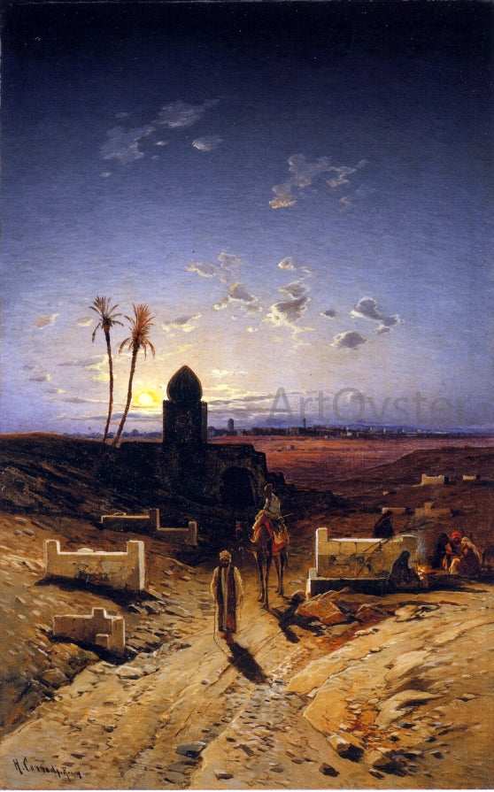 Hermann Solomon Corrodi Twilight in the Desert - Canvas Art Print