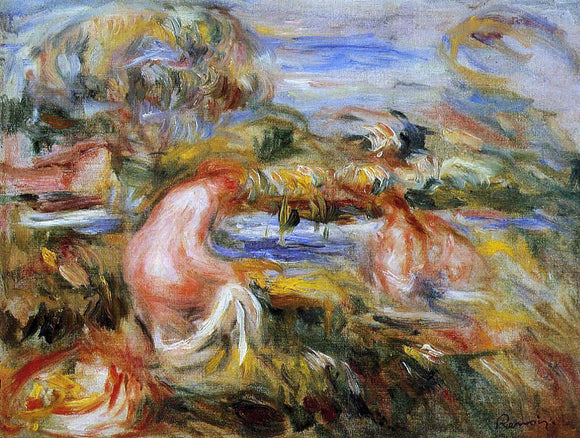 Pierre Auguste Renoir Two Bathers in a Landscape - Canvas Art Print