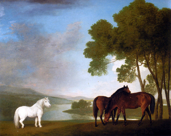 George Stubbs Two Bay Mares And A Grey Pony In A Landscape - Canvas Art Print
