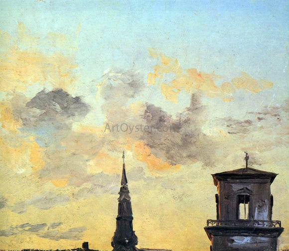 Johan Christian Claussen Dahl Two Belfries at Sunset, Copenhagen - Canvas Art Print