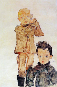 Egon Schiele Two Boys - Canvas Art Print