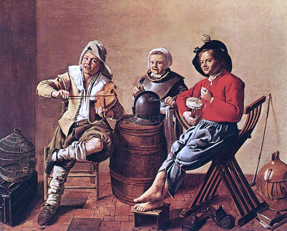 Jan Miense Molenaer Two Boys and a Girl Making Music - Canvas Art Print