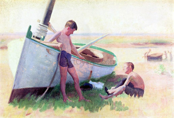 Thomas Pollock Anschutz Two Boys by a Boat - Near Cape May - Canvas Art Print