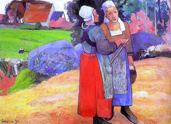 Paul Gauguin Two Breton Peasants on the Road - Canvas Art Print