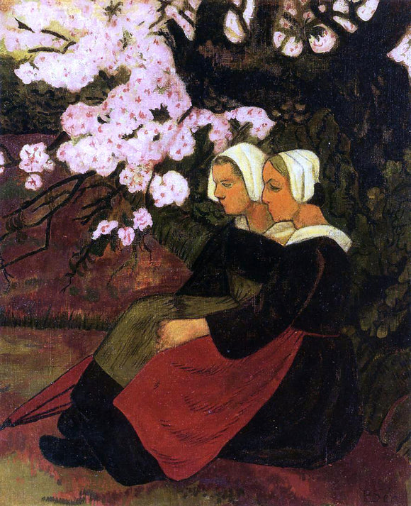 Paul Serusier Two Breton Women Under a Flowering Apple Tree - Canvas Art Print
