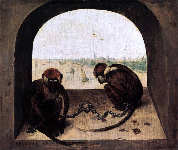 The Elder Pieter Bruegel Two Chained Monkeys - Canvas Art Print