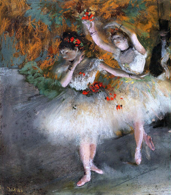 Edgar Degas Two Dancers Entering the Stage - Canvas Art Print