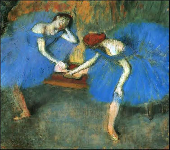 Edgar Degas Two Dancers in Blue - Canvas Art Print