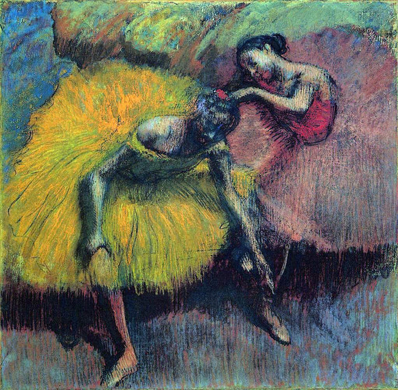 Edgar Degas Two Dancers in Yellow and Pink - Canvas Art Print