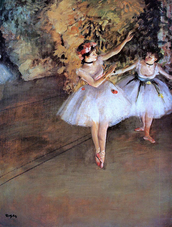 Edgar Degas Two Dancers on Stage - Canvas Art Print