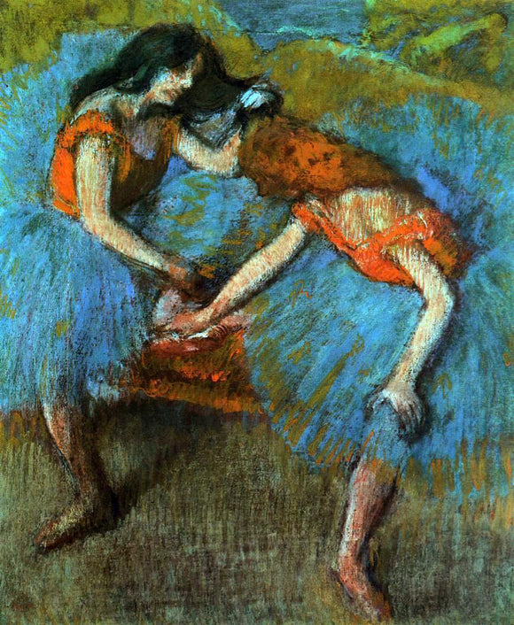 Edgar Degas Two Dancers with Yellow Corsages - Canvas Art Print