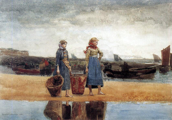 Winslow Homer Two Girls at the Beach, Tynemouth - Canvas Art Print
