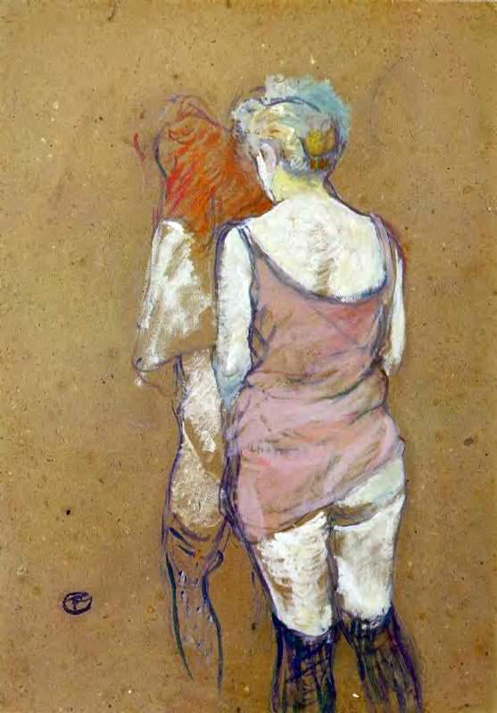 Henri De Toulouse-Lautrec Two Half-Naked Women Seen from Behind in the Rue des Moulins Brothel - Canvas Art Print