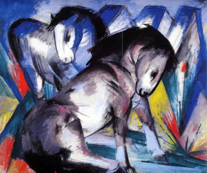 Franz Marc Two Horses - Canvas Art Print
