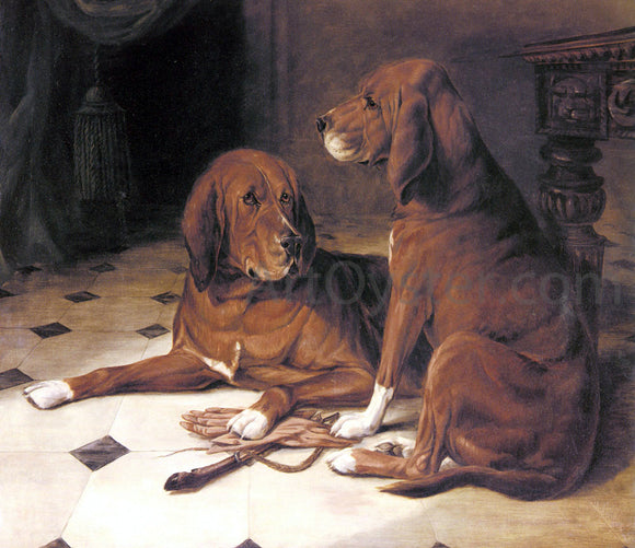 William Luker Two Hounds in a Great Hall - Canvas Art Print
