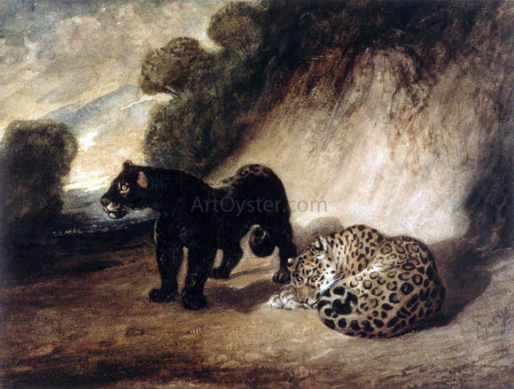 Antoine-Louis Barye Two Jaguars from Peru - Canvas Art Print