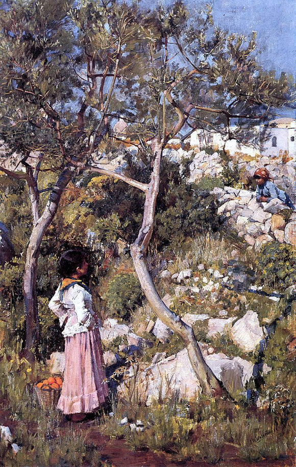 John William Waterhouse Two Little Italian Girls by a Village - Canvas Art Print