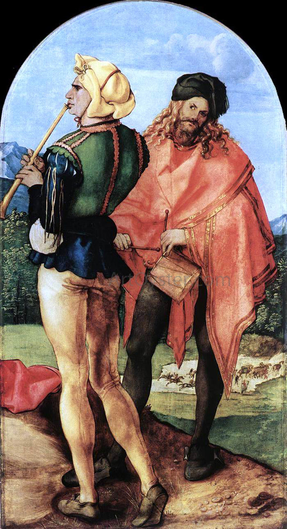 Albrecht Durer Two Musicians - Canvas Art Print