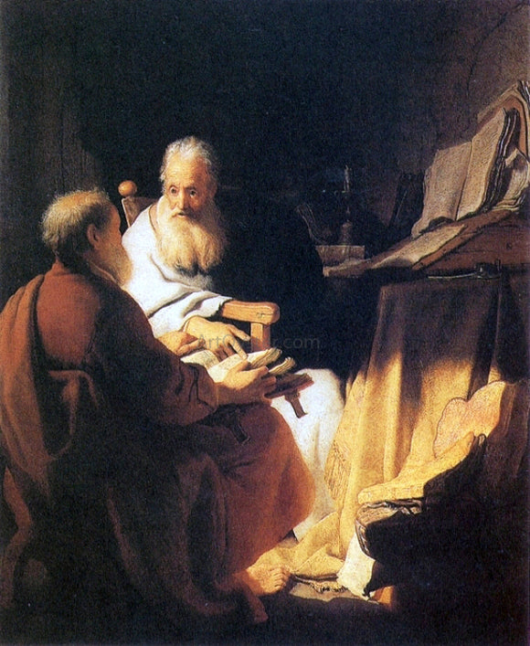 Rembrandt Van Rijn Two Old Men Disputing (St Peter and St Paul) - Canvas Art Print