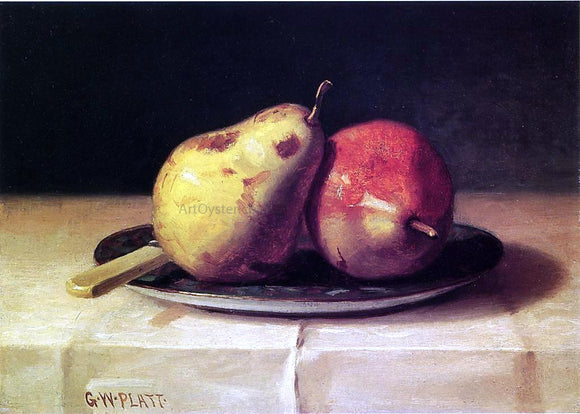 George W Platt Two Pears on a Dish - Canvas Art Print