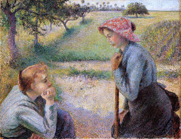 Camille Pissarro Two Peasant Woman Chatting - Canvas Art Print