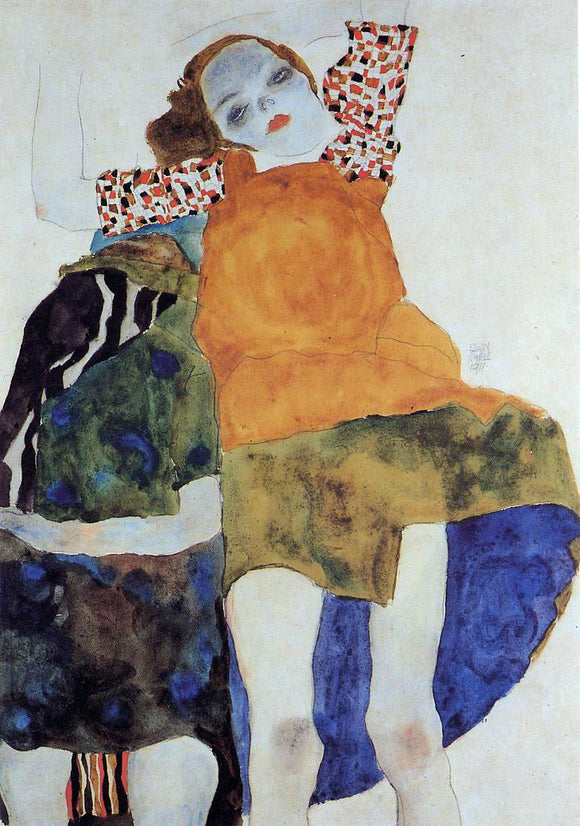 Egon Schiele Two Seated Girls - Canvas Art Print