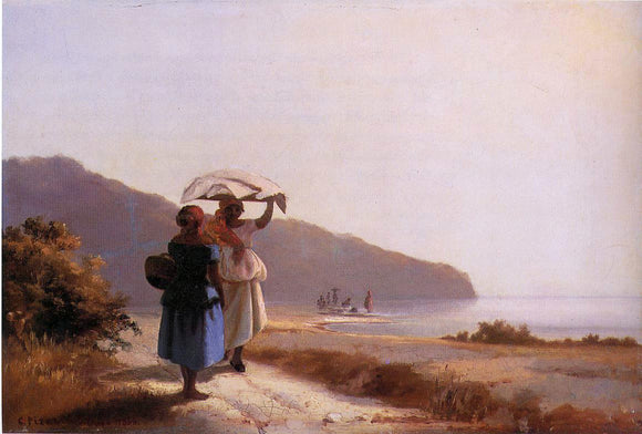 Camille Pissarro Two Woman Chatting by the Sea, St. Thomas - Canvas Art Print