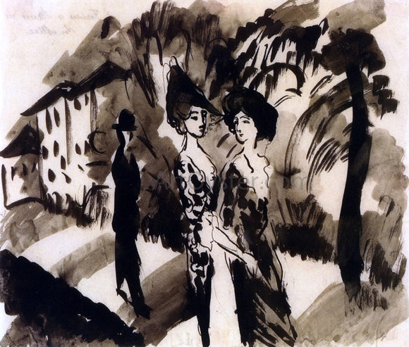August Macke Two Women and an Man on an Avenue - Canvas Art Print