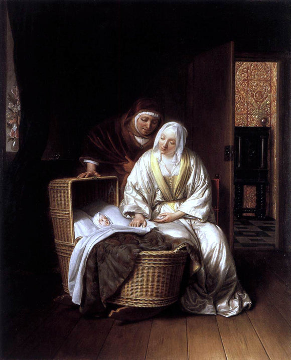 Samuel Van Hoogstraten Two Women by a Cradle - Canvas Art Print
