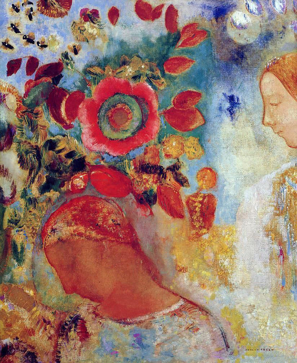 Odilon Redon Two Young Girls among Flowers - Canvas Art Print