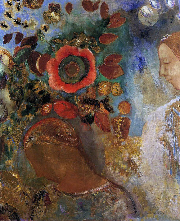 Odilon Redon Two Young Girls among the Flowers - Canvas Art Print