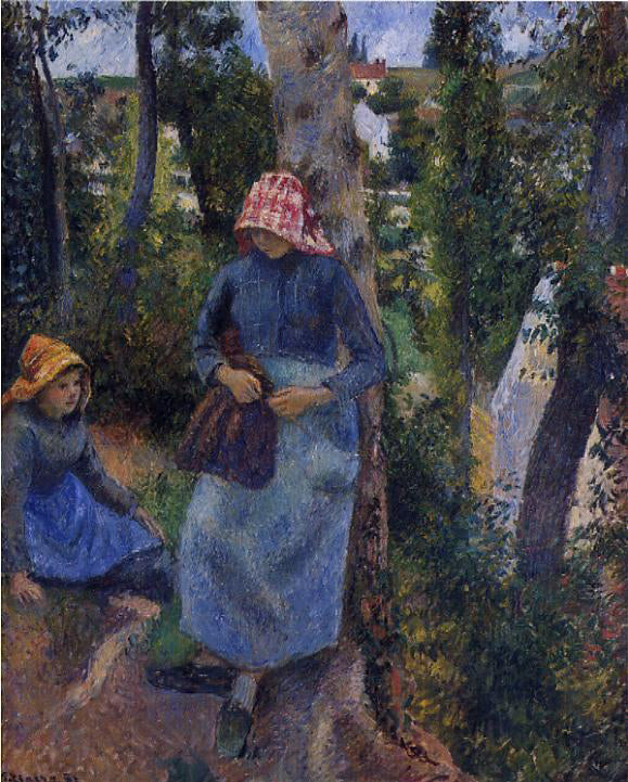 Camille Pissarro Two Young Peasants Chatting Under the Trees - Canvas Art Print