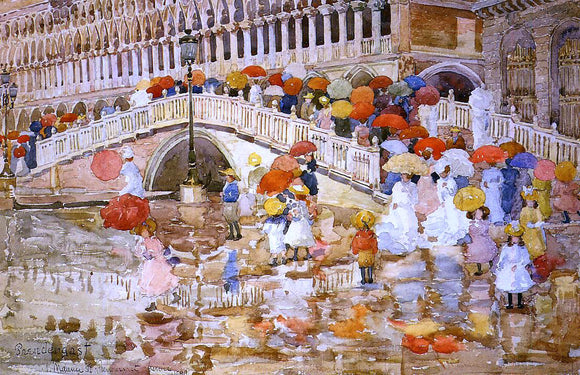 Maurice Prendergast Umbrellas in the Rain - Canvas Art Print