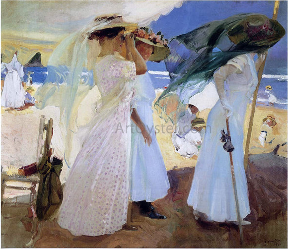 Joaquin Sorolla Y Bastida Under the Awning, Zarauz - Canvas Art Print