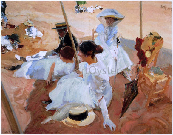 Joaquin Sorolla Y Bastida Under the Awning at Zarauz Beach - Canvas Art Print
