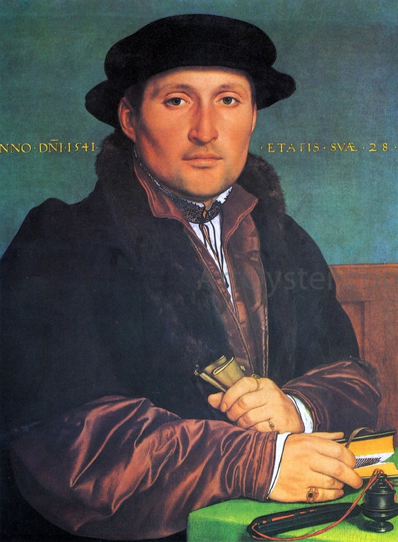The Younger Hans Holbein Unknown Young Man at His Office Desk - Canvas Art Print