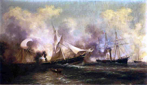 Xanthus Russell Smith U.S.S Kearsarge Sinking the Alabama - Canvas Art Print